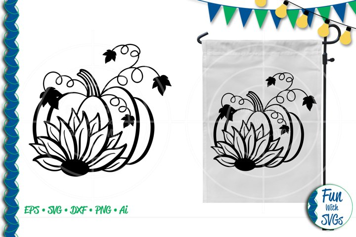 SVG Sunflower Pumpkin Vector, Cut File, Clip Art FWS277