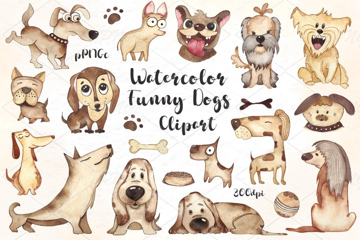 Watercolor funny Dogs Clipart, Puppies clipart