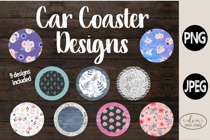 Car Coaster Floral Bundle PNG