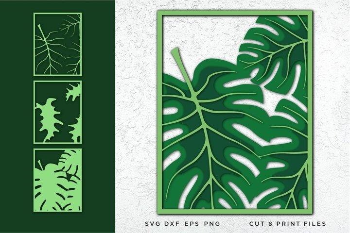 Monstera leaves svg, Cut file leaf, Multilayer svg, Layered