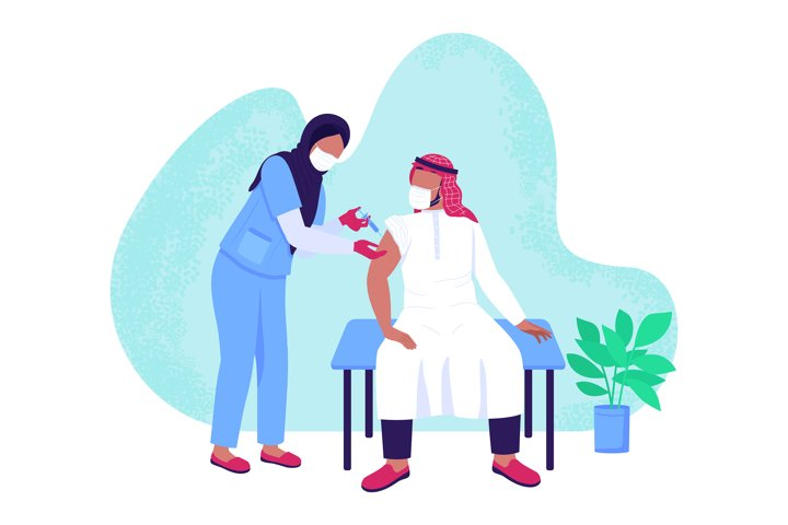 Vaccination process flat concept vector illustration