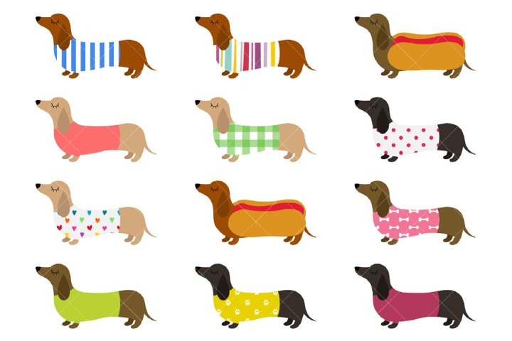 Dachshunds Clipart, Cute Sausage Dogs, Colorful Weiner Dogs