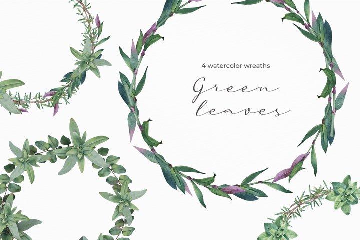 Green Leaves watercolor wreaths.