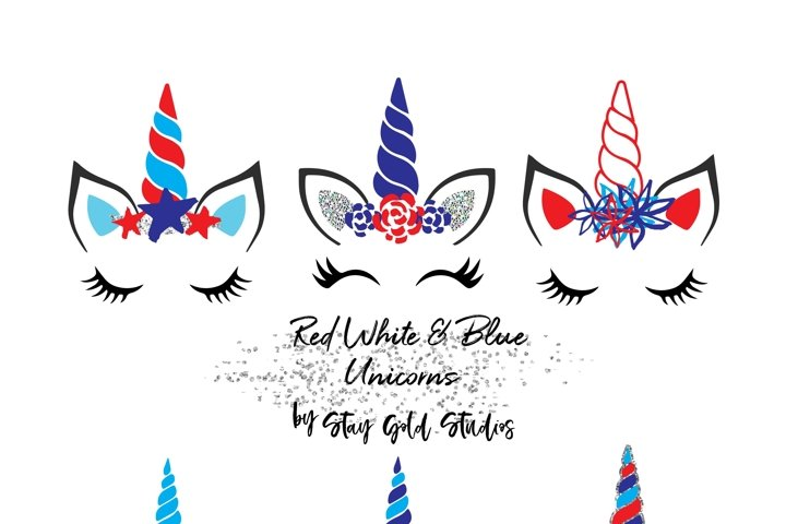 Red White & Blue Unicorn Faces Clipart