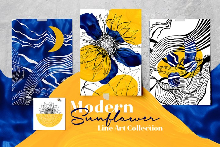 Modern Sunflower Line Art Collection. Posters, Prints