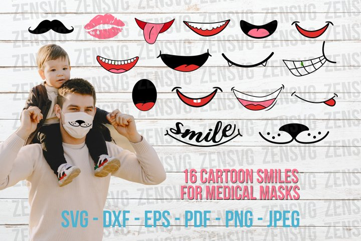 16 Smiling Cartoon Mouths Face Mask Cut File Bundle