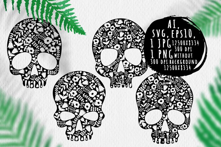 Human skulls silhouettes with ornament