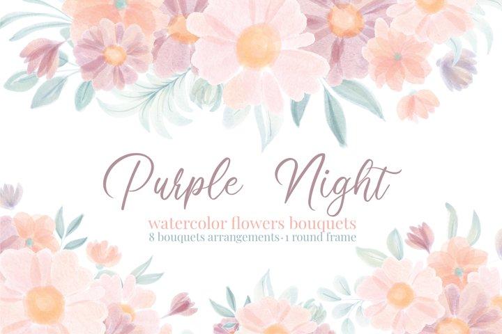 Watercolor Floral Purple and Blush Bouquets Arrangements