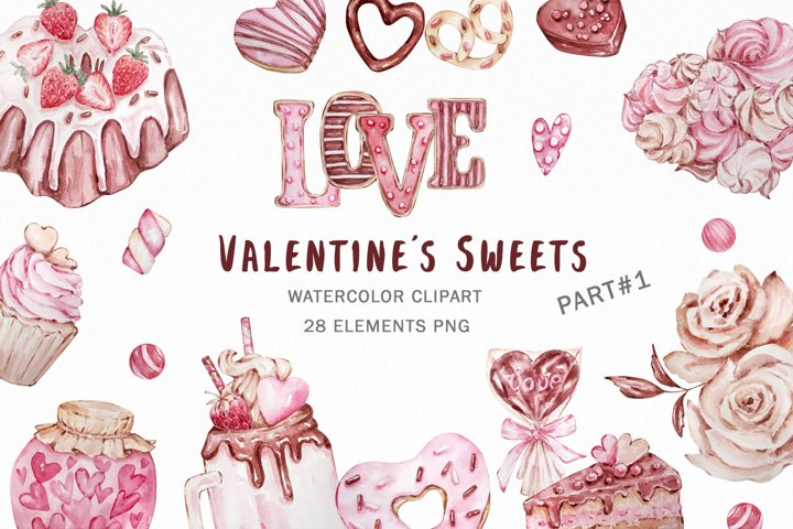 Valentines day Watercolor Clipart, Candy Hearts