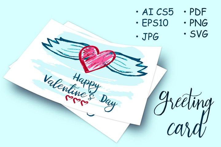 Greeting card with hearts and wings. Happy Valentines Day