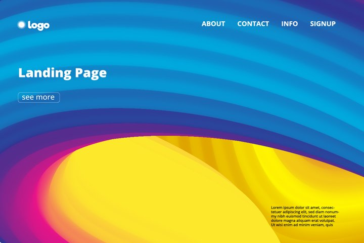 3 Abstract colorful flowing wave landing page backgrounds