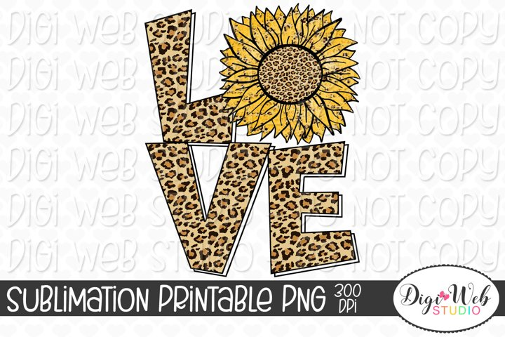Leopard Print Sunflower Love Sublimation Design