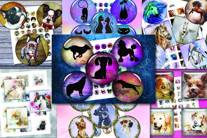 ANIMALS BUNDLE, Digital silhouettes, DOGS, HORSES, CATS