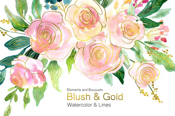 Blush Pink & Gold Flowers Roses & Green Leaves