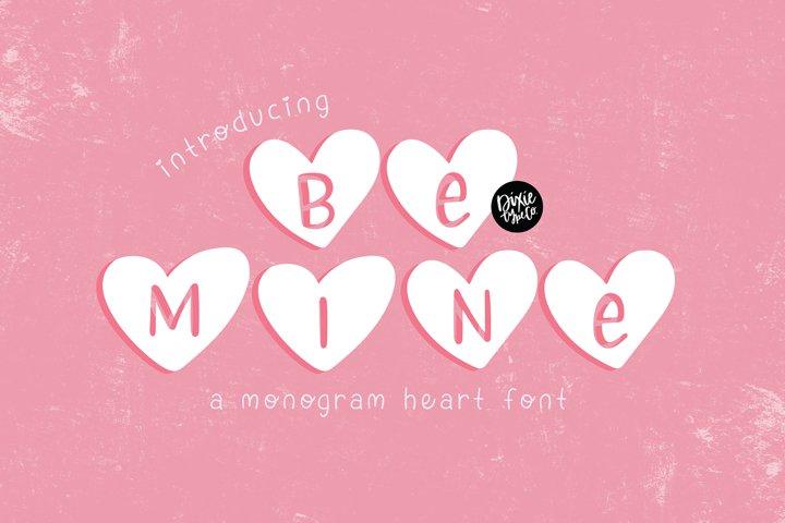 BE MINE Valentines Day Heart Monogram Font