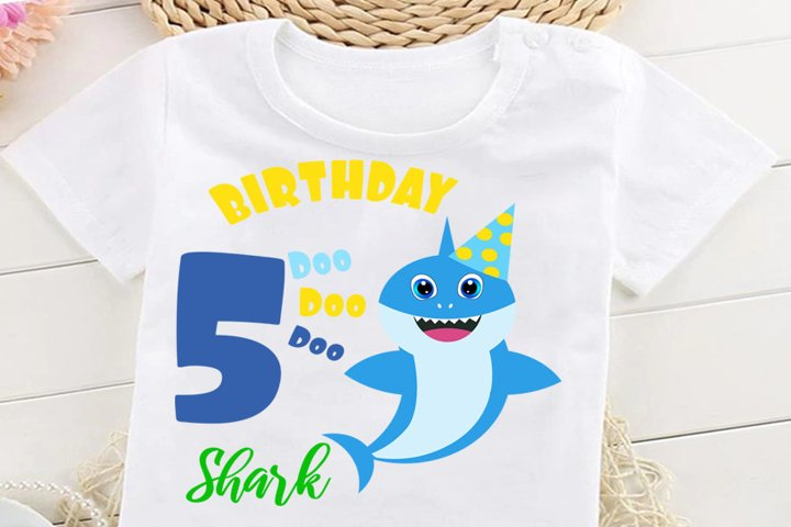 5th Birthday shark Svg, Boy Birthday Shark clipart,