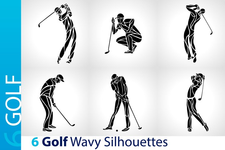 Golfers Golf Players / Golf Black Abstract Silhouettes set