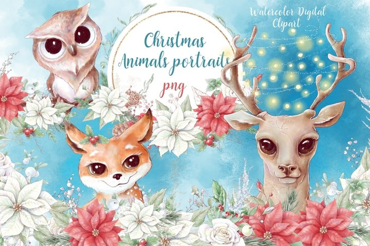 Christmas watercolor animal portraits and bouquets