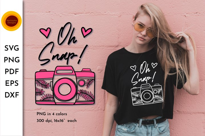 Camera SVG. Camera png. Oh snap SVG. Retro camera clipart