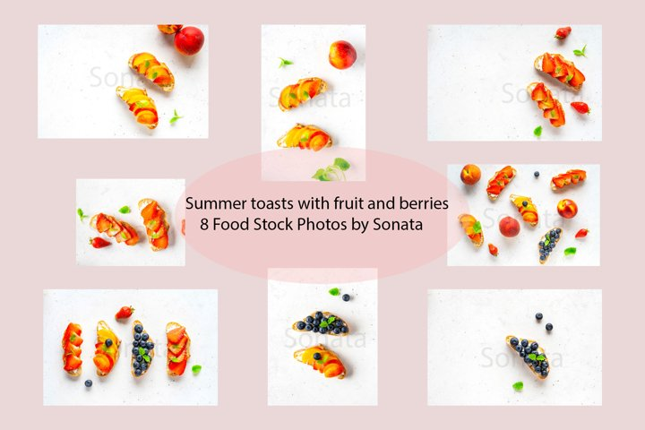 Various summer toasts with fruit and berries