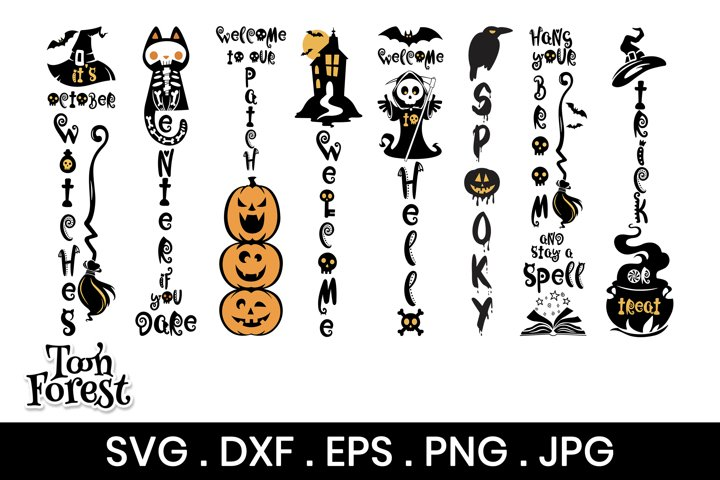 Halloween Porch Sign SVG, DXF, EPS, and Png Cut Files Bundle
