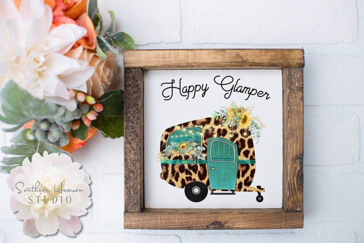 HAPPY GLAMPER, LEOPARD W/SUNFLOWERS - PNG