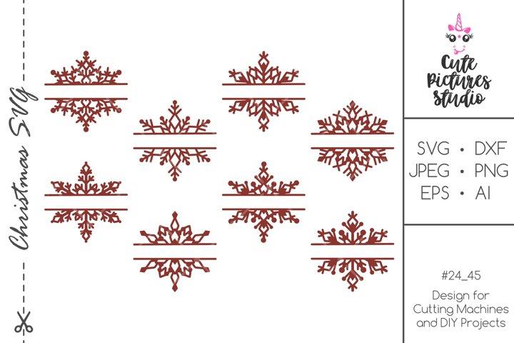 Christmas split monogram frame with snowflakes bundle SVG
