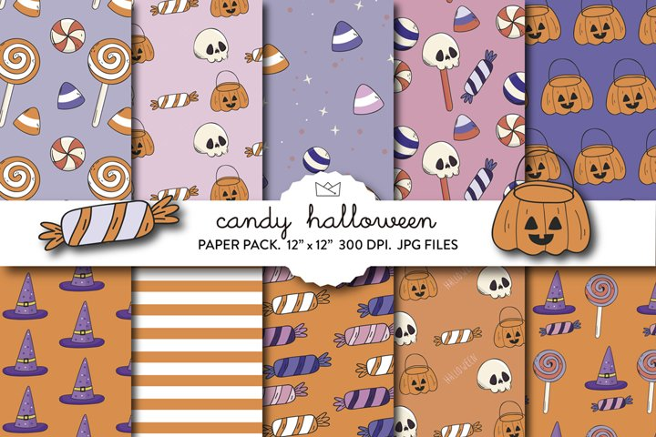 Halloween candy digital paper, candy corn, trick or treat