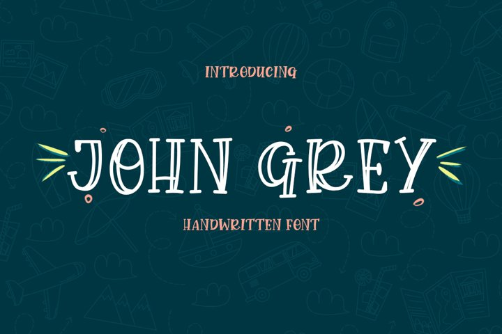 John Grey - a handwritten outline and filled font - Free Font Of The Week Font