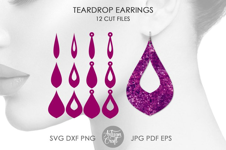 Teardrop earring SVG bundle, earring template, cutting files