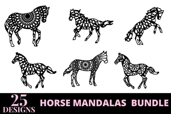 25 designs horse mandala bundle