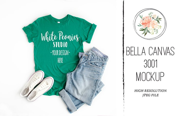 Bella Canvas 3001 Shirt Mockup Kelly Green St Patrick Day