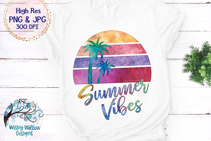 Summer Vibes Watercolor PNG | Sublimation | Clipart