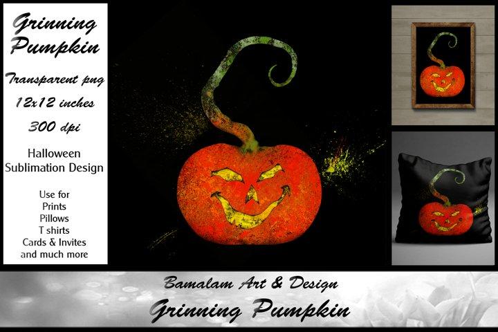 Grinning Pumpkin Halloween Sublimation Clipart