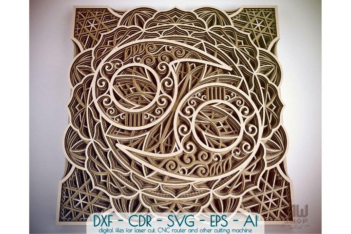 Cancer Zodiac Sign, Multilayer Cancer Mandala pattern