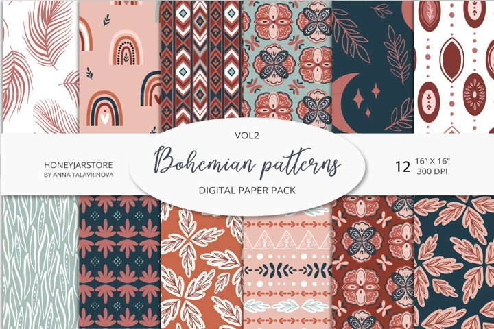Boho chic digital paper set, bohemian seamless patterns pack