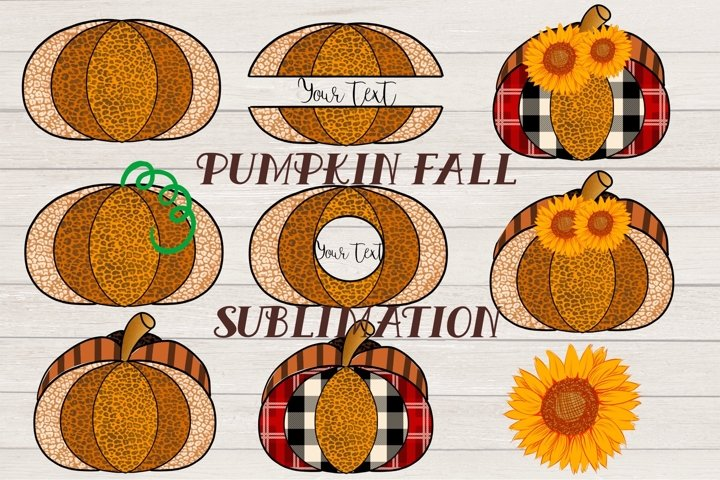 Leopard Pumpkin with plaid and sunflower Sublimation PNG