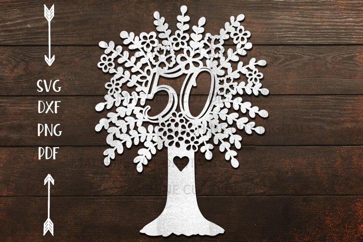 50th Tree Birthday Celebration paper vinyl cut template svg