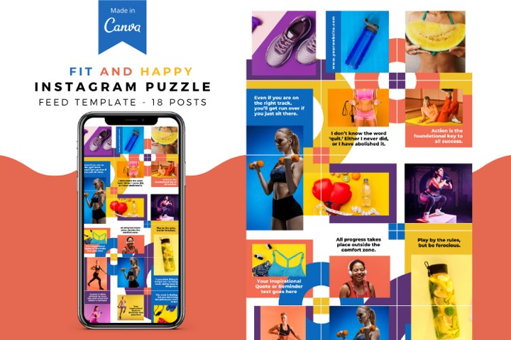 Fit and Happy Canva Instagram Puzzle Feed Template
