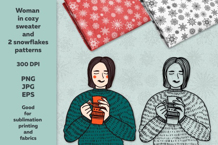 Woman in cozy sweater and 2 snowflakes patterns