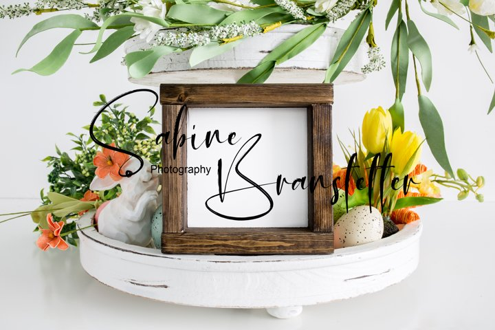 Mockup - Square Wood Sign, Tier Tray Easter Photography