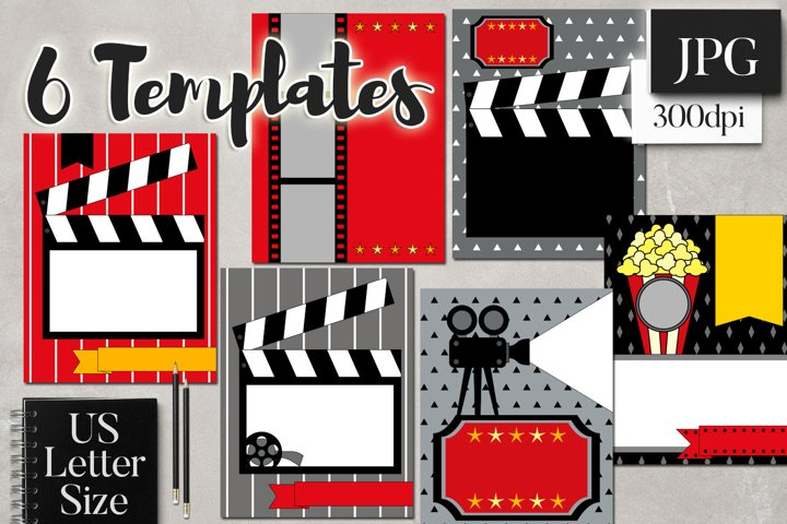 Movie Night Planner Binder Page Cover Templates