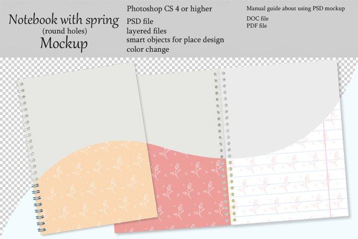 Notebook with spring mockup. Sketchbook mockup.
