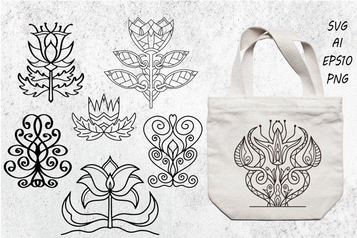 Damask ornament. Vintage floral sprigs pattern, baroque