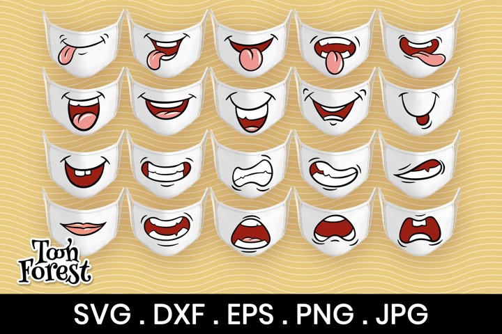 20 Funny mouths SVG, DXF, EPS, PNG cut files for face mask