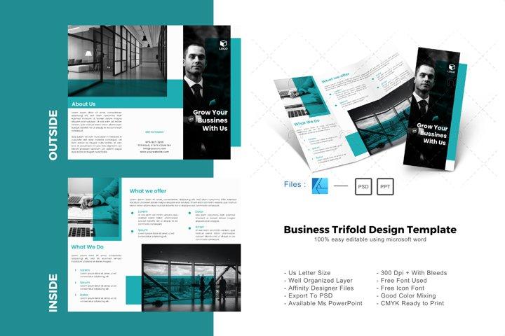 Minimal business trifold brochure design template