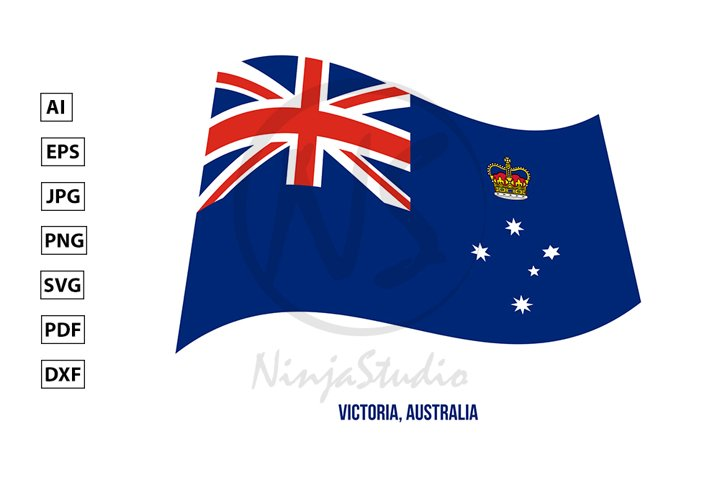 Victoria Flag Waving Vector. States Flag of Australia