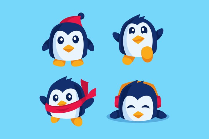 cute penguin cartoon character collection flat design