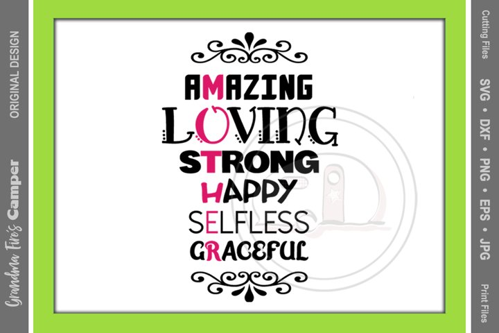 Mothers Day SVG, Mother Words to Describe Her