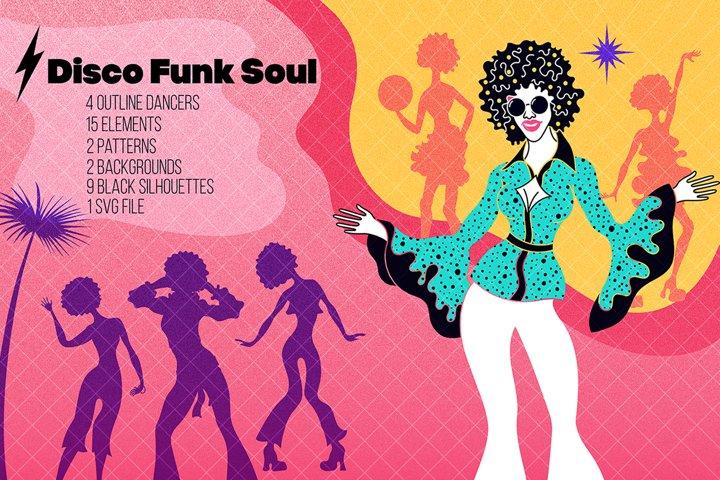 Funk disco soul dancers set.Retro vintage silhouettes
